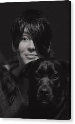 Daughter And Dog Canvas Print by Susan Capuano
