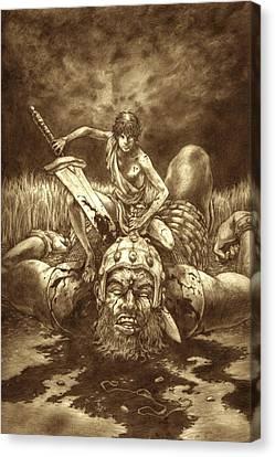 David And Goliath Canvas Print - David And Goliath by Amiri Bennett