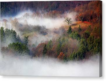 Canvas Print featuring the photograph Dawn Mists Slovenia by Graham Hawcroft pixsellpix