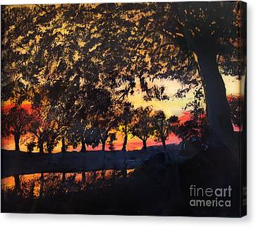 Dawn On The Canal Canvas Print by Lucia Grilletto