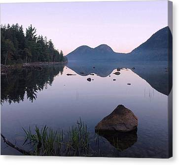 Maine Mountains Canvas Print - Dawn Reflections by Stephen  Vecchiotti
