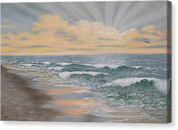 Dawn Surf Canvas Print by Kathleen McDermott
