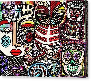 Day Of The Dead Cats Canvas Print by Sandra Silberzweig