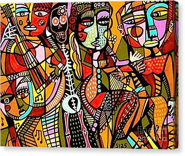 Day Of The Dead Lovers Tango Canvas Print by Sandra Silberzweig