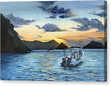 Daybreak At Batteaux Bay Canvas Print by Trister Hosang