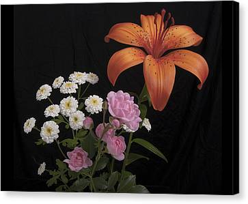 Daylily And Roses Canvas Print by Michael Peychich