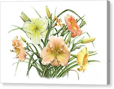 Daylily Bouquet Canvas Print by Artellus Artworks