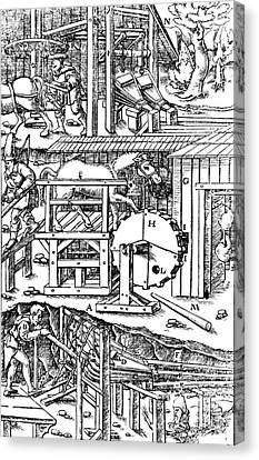 De Re Metallica, Ventilation Of Mines Canvas Print by Science Source