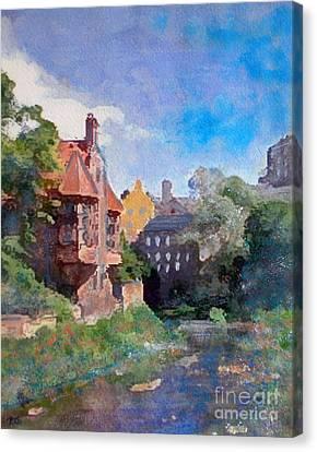 Canvas Print featuring the painting Dean Village Edinburgh by Richard James Digance
