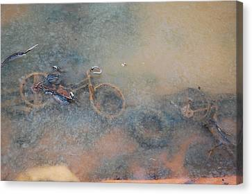 Debris In Canal Bed Canvas Print
