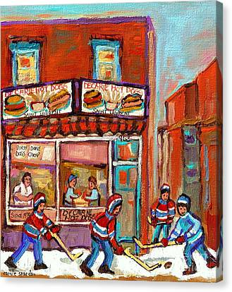 Decarie Hot Dog Montreal Restaurant Paintings Ville St Laurent Streets Of Montreal Paintings Canvas Print by Carole Spandau