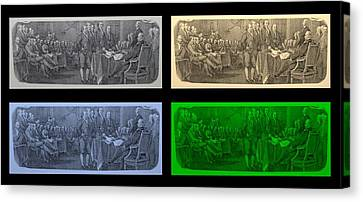 Declaration Of Independence In Quad Colors Canvas Print by Rob Hans