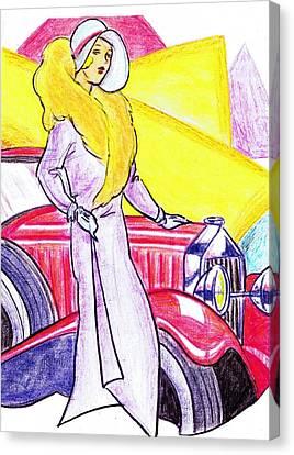 Deco Lady With Auto Canvas Print