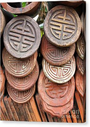 Decorated Traditional Chinese Roof Tiles Canvas Print by Yali Shi