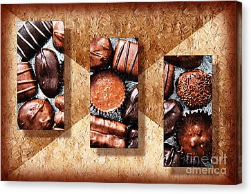 Snack Canvas Print - Deep Rich Chocolates Triptych by Andee Design
