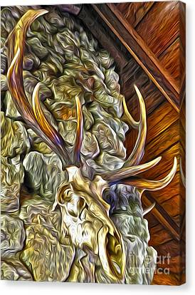 Canvas Print featuring the painting Deer Skull by Gregory Dyer