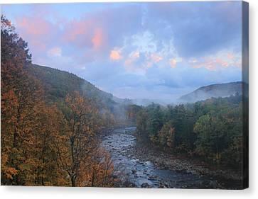 Deerfield River Mohawk Trail Autumn Evening Canvas Print by John Burk