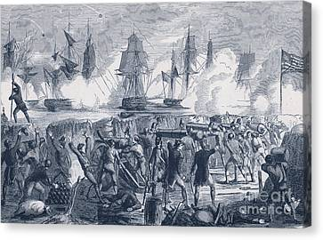 Defense Of Fort Moultrie, 1776 Canvas Print