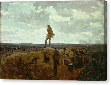Courage Canvas Print - Defiance - Inviting A Shot Before Petersburg by Winslow Homer