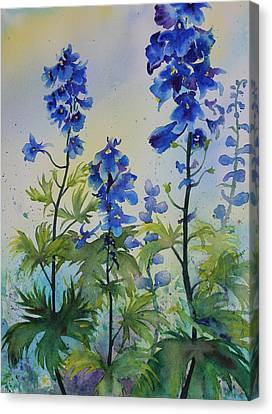 Delphiniums Canvas Print by Ruth Kamenev