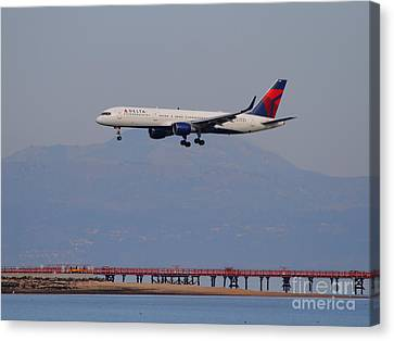 Delta Airlines Jet Airplane At San Francisco International Airport Sfo . 7d12182 Canvas Print by Wingsdomain Art and Photography
