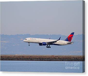 Delta Airlines Jet Airplane At San Francisco International Airport Sfo . 7d12183 Canvas Print by Wingsdomain Art and Photography