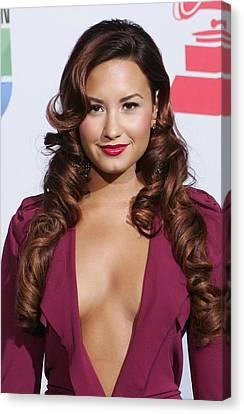 Demi Lovato Wearing A Roland Mouret Canvas Print