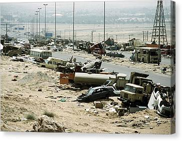 Demolished Vehicles Line Highway 80 Canvas Print