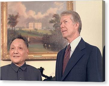 Deng Xiaoping And Jimmy Carter Canvas Print by Everett