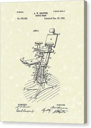 Dental Chair 1896 Patent Art Canvas Print by Prior Art Design