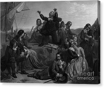 Departure Of The Pilgrims, 1620 Canvas Print
