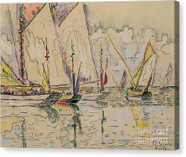 Departure Of Tuna Boats At Groix Canvas Print by Paul Signac