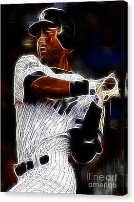 Derek Jeter New York Yankee Canvas Print by Paul Ward