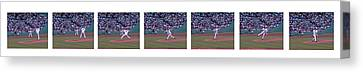 Derek Lowe Pitching Motion Canvas Print by David Bearden