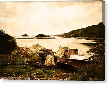 Derelict Boat In Outer Hebrides Canvas Print by Jasna Buncic