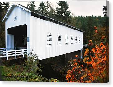 Canvas Print featuring the photograph Derena Covered Bridge by Tyra  OBryant