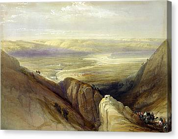 Descent Upon The Valley Of Jordan Canvas Print by Everett