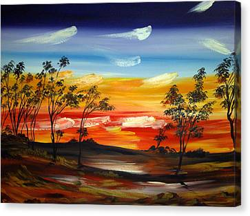 Canvas Print featuring the painting Desert Fire by Roberto Gagliardi