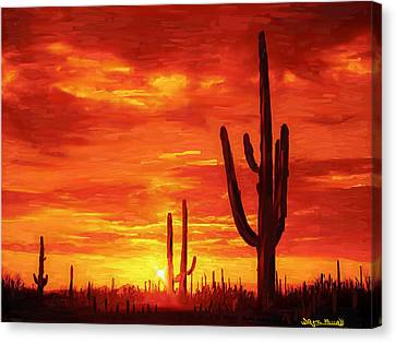 Canvas Print featuring the painting Desert Heat by Wayne Pascall