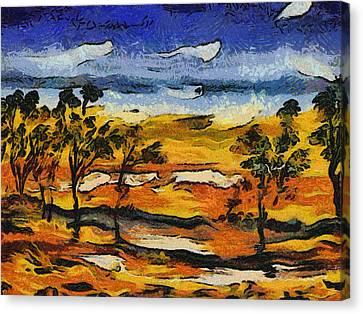 Canvas Print featuring the digital art Desert Homage At Van Gogh by Roberto Gagliardi