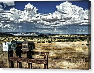 Desert Mailboxes Canvas Print by Danuta Bennett