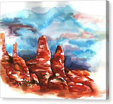 Canvas Print featuring the painting Desert Sentries by Sharon Mick