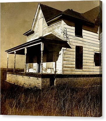 Sepia Vintage Farmhouse Canvas Print - Deserted House by Bonnie Bruno