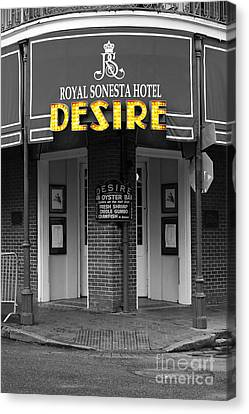 Desire Corner Bourbon Street French Quarter New Orleans Color Splash Black And White Digital Art  Canvas Print by Shawn O'Brien