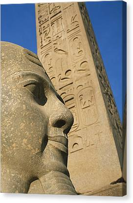 Detail Of Head Of Pharaoh In Front Of Canvas Print by Axiom Photographic
