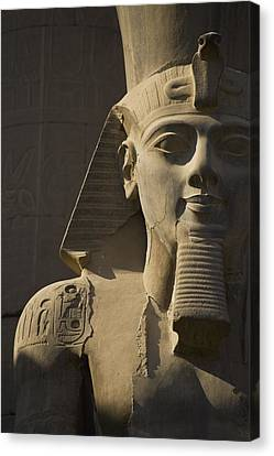 Detail Of Head Of Pharaoh Statue Canvas Print by Axiom Photographic