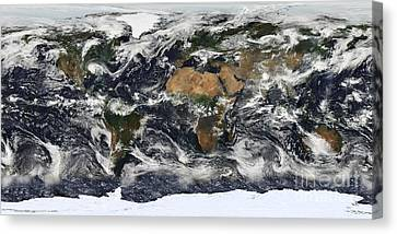 Detailed Satellite View Of Earth Canvas Print