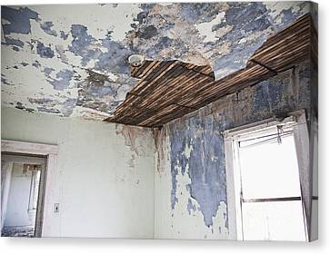 Deteriorating Ceiling In An Abandoned House Canvas Print by Jetta Productions, Inc
