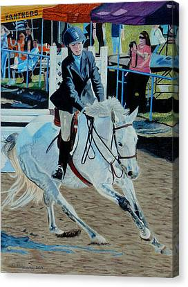 Determination - Horse And Rider - Horseshow Painting Canvas Print by Patricia Barmatz