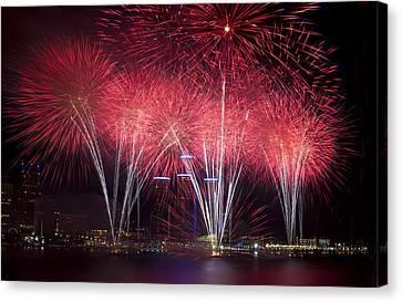 Detroit Fireworks Canvas Print by Cindy Lindow